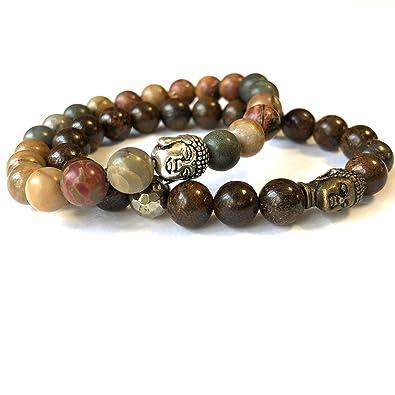 Agar Creations - Set of 2 Mala Bracelets - Jasper 8mm Mala - Bronzite 8mm Mala - Yoga Meditation Bracelet - Buddha Wrist Mala