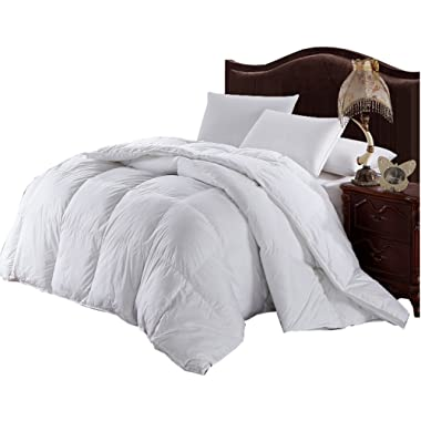 Royal Hotel Collection Oversized King/Calking Baffle Box White Down Alternative Comforter 110  Wide x 98  Long - Overfilled 100 ounces of Fill