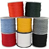 """SGT KNOTS Hollow Braided Polypropylene Rope 3/16"""", 1/4"""", 5/16"""", 3/8"""", 1/2"""", 5/8"""", 3/4"""" - Several Colors (1/4""""x50' - Black)"""