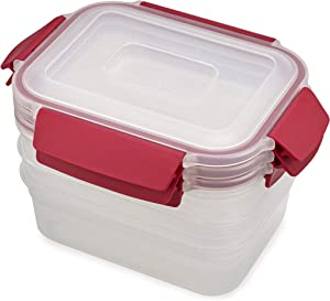 Joseph Joseph Nest Lock Plastic Food Storage Container Set with Lockable Airtight Leakproof Lids, 6-Piece Set/37oz, Red