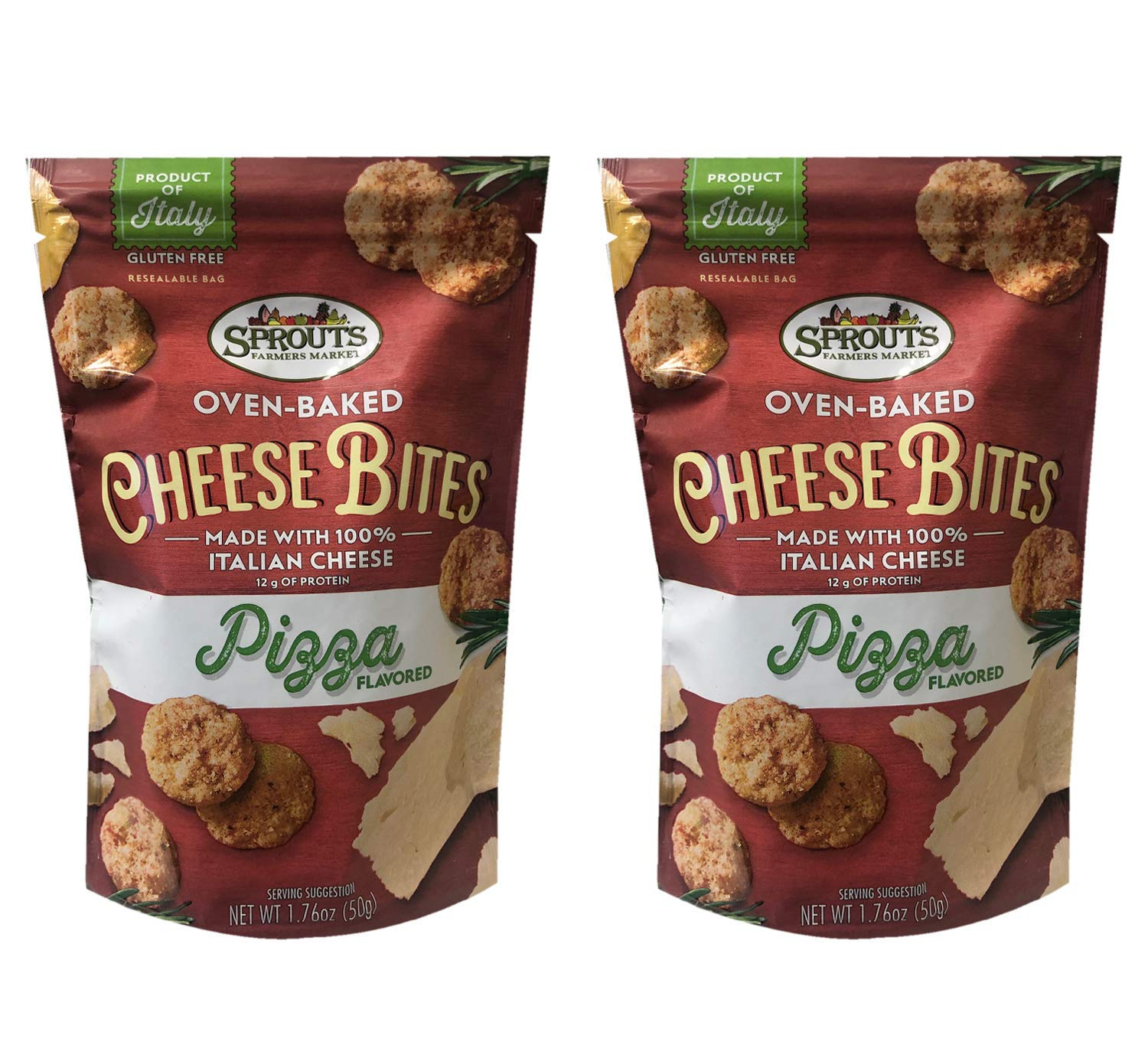 Sprouts Oven-Baked Italian Real Cheese Bites 1.76oz, 2 Pack (Pizza)