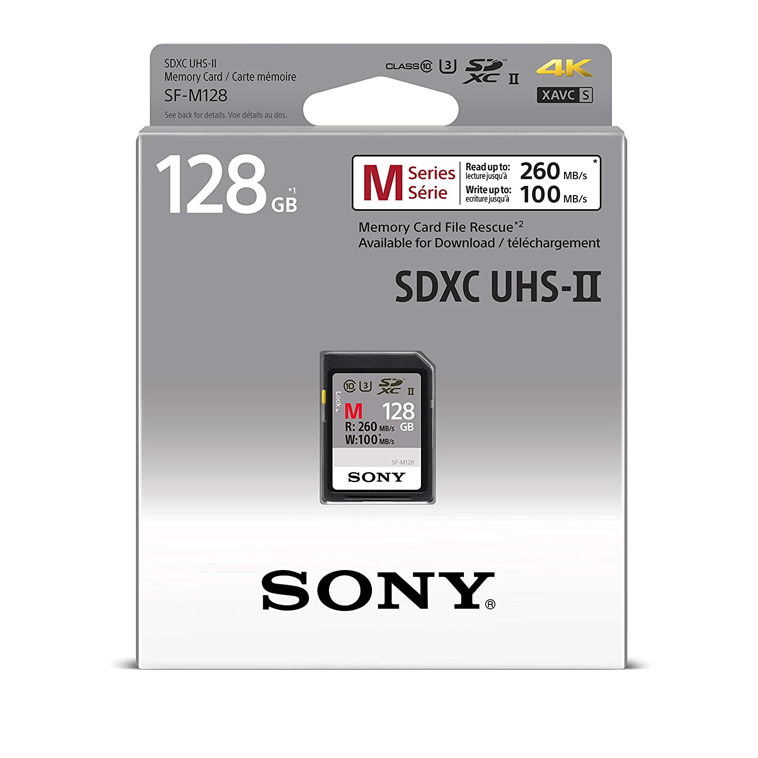 Sony Memory Card 128GB, UHS-II SD, CL10, U3, Max R260MB/s, W100MB/s (SF-M128/T)