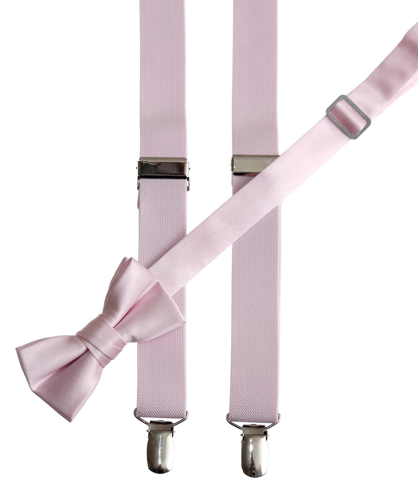 Kids Light Pink Adjustable Suspender and Bow Tie Set, Fits on Average Ages 4-7