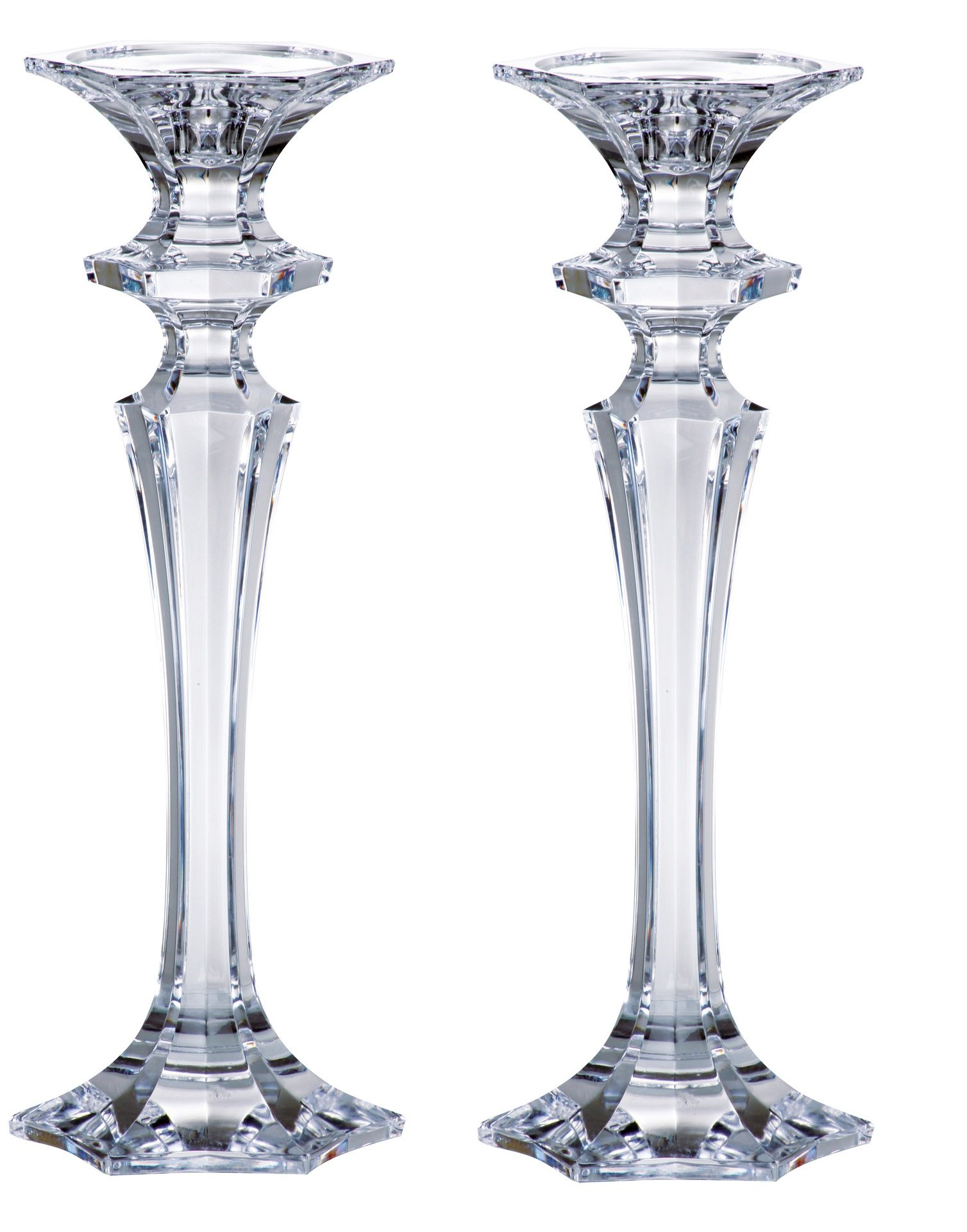 Barski - Beautiful Crystalline Candlesticks - Candlestick is 8 '' H - Made in Europe - Pair of 2
