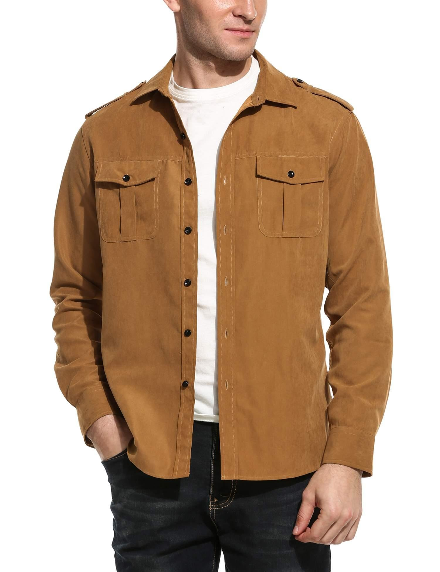 COOFANDY Men's Faux Suede Military Style Casual Long Sleeve Shirt for Travel Camp Outdoor,Camel,XX-Large