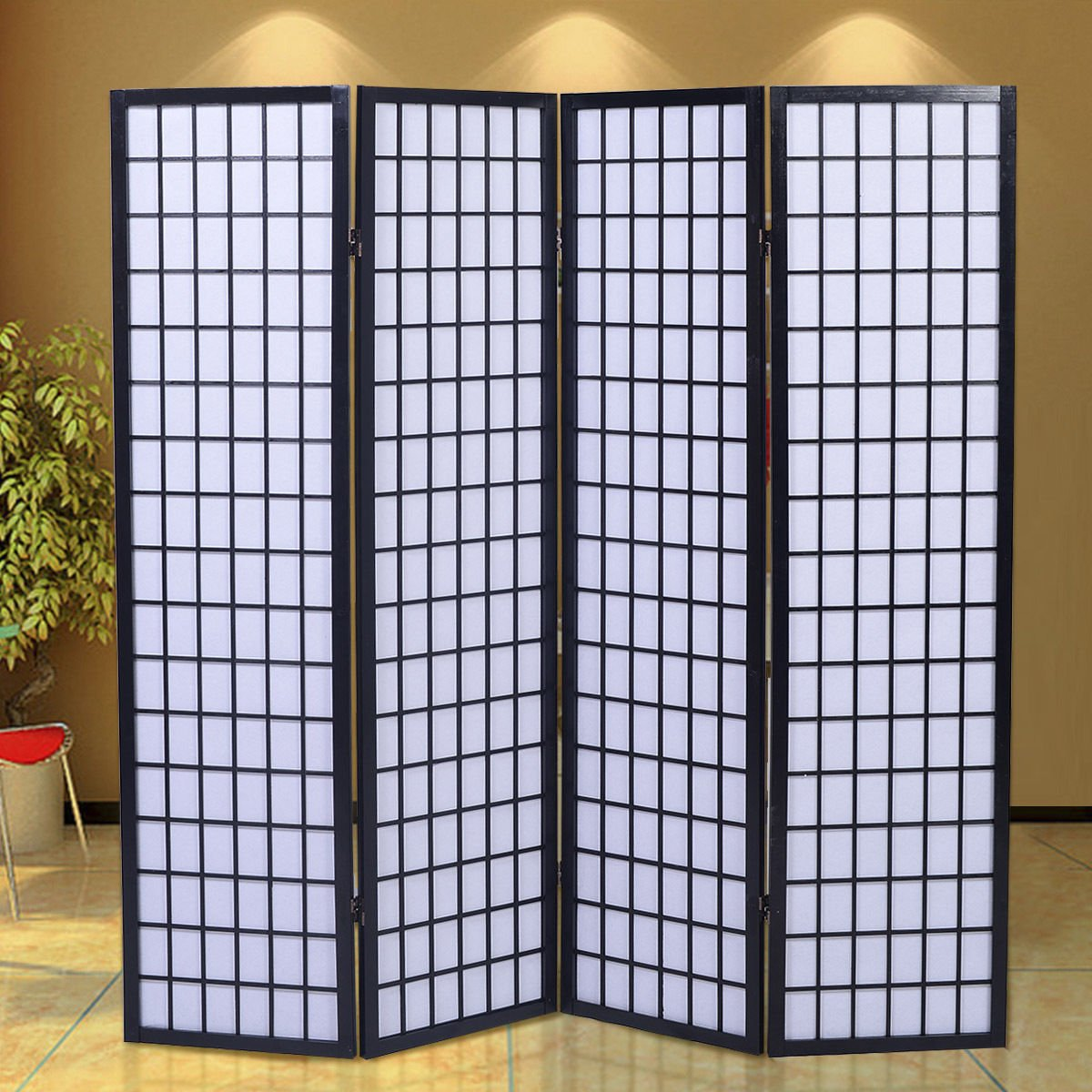 GHP Portable Black Wood Framed Folding 4-Panel Room Divider Screen