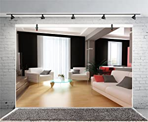 Leyiyi 8x6ft Photography Background Chic Living Room Background Business Hotel Caffee Modern Office Interior Design Sofas Wooden Floor French Windows Curtain Photo Potrait Vinyl Studio Video Prop