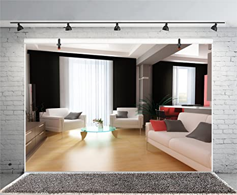 Leyiyi 8x6ft Photography Background Chic Living Room Background Business  Hotel Caffee Modern Office Interior Design Sofas Wooden Floor French  Windows ...