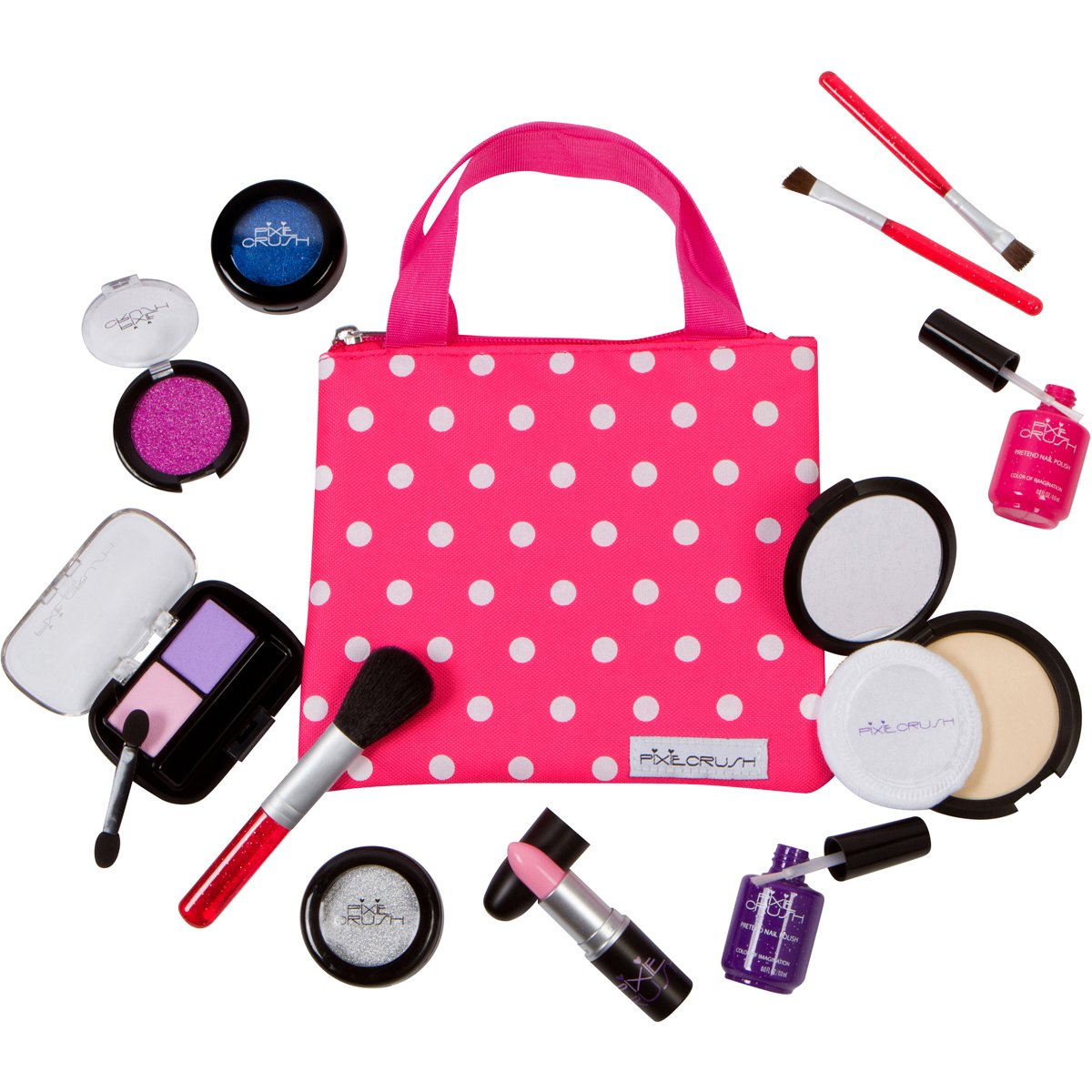 PixieCrush Pretend Play Makeup Kit. Designer Girls Beauty Basics 12 Piece Polka Dot Handbag Set by PixieCrush