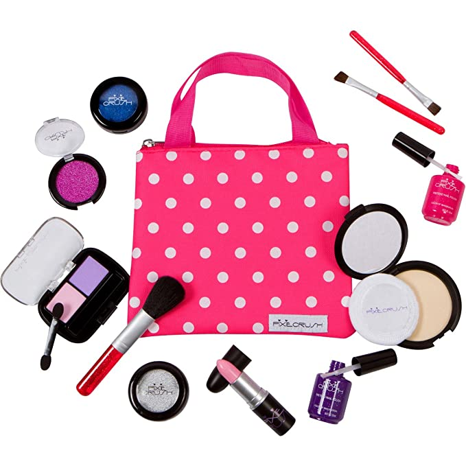 PixieCrush Pretend Play Makeup Kit. Designer Girls Beauty Basics 12 Piece Polka Dot Handbag Set $22