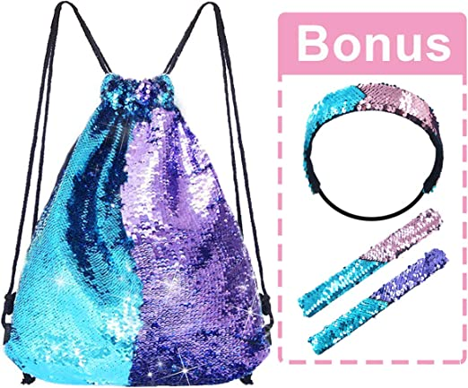 LURICO Mermaid Sequin Drawstring Bags Magic Glittering Dance Bag Purses Mermaid Sequin Bag 5pcs with Bonus Slap Bracelet /& Headband Set Reversible Blue//Purple