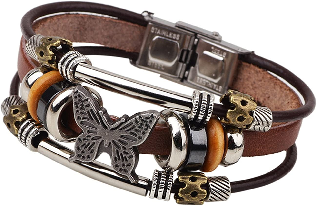 LNKRE JEWELRY Charms Triple Strand Bali Beads Leather Pendants Bracelets