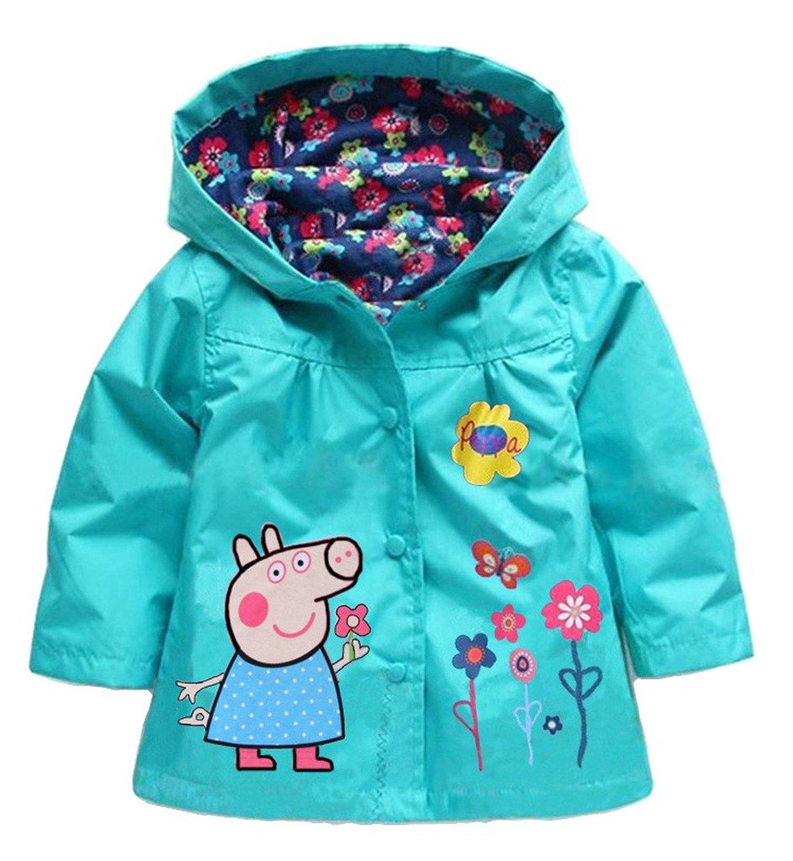 EGELEXY Cartoon Peppa Pig Flower Baby Girls Kids Rain Coat Jacket Coat Hoodie Outwear 2-3T Blue