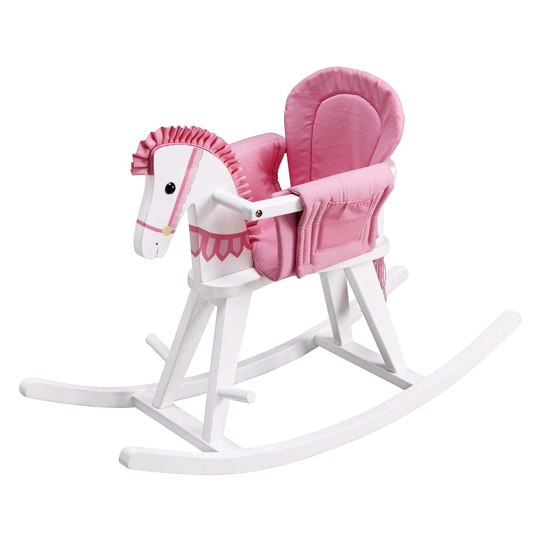 Teamson Bascule Teamson Kids Safari Blanc Rocking Horse avec Pad Rose Multicolore