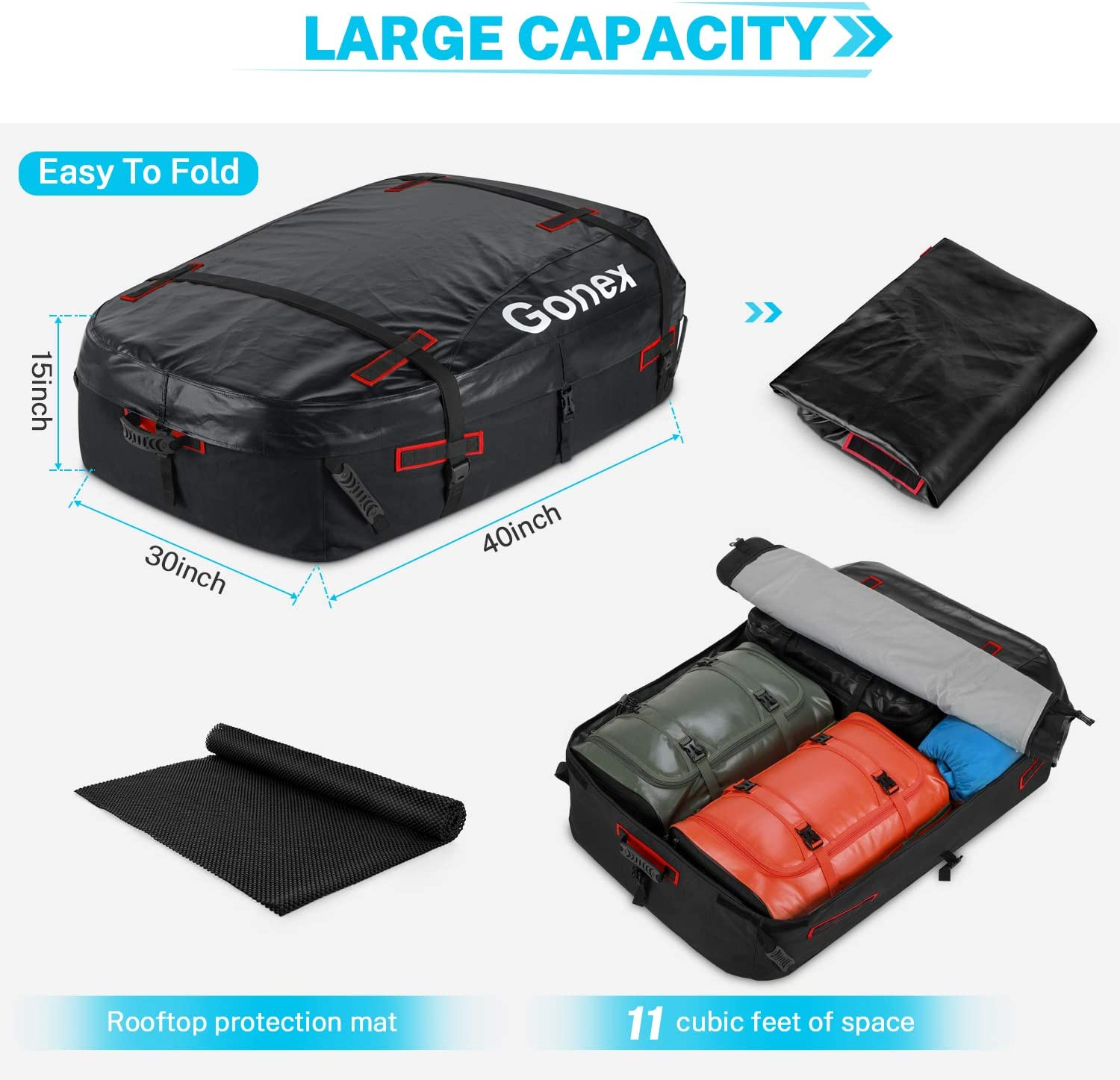 Black/&Red 1200D Strong Waterproof Rooftop Cargo Carrier Bag 11 Cubic Feet Foldable Soft Luggage Storage Bag with Protective Mat Gonex Car Roof Bag Fits All Vehicle With//Without Rack
