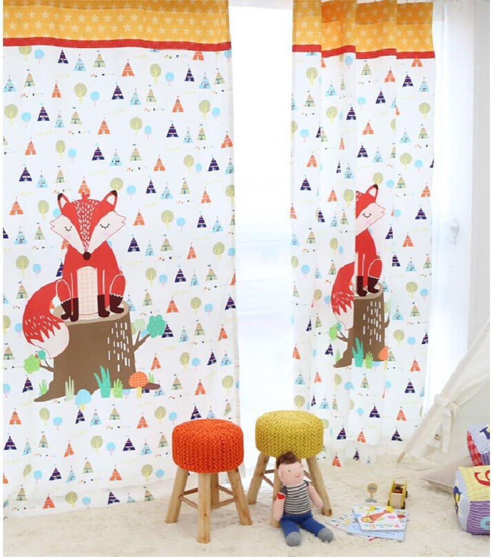 HxB GWELL Kinderzimmer Gardinen Vorhang Blickdicht /Ösenschal Dekoschal f/ür Wohnzimmer Schlafzimmer 1er-Pack 240x130cm Fuchs