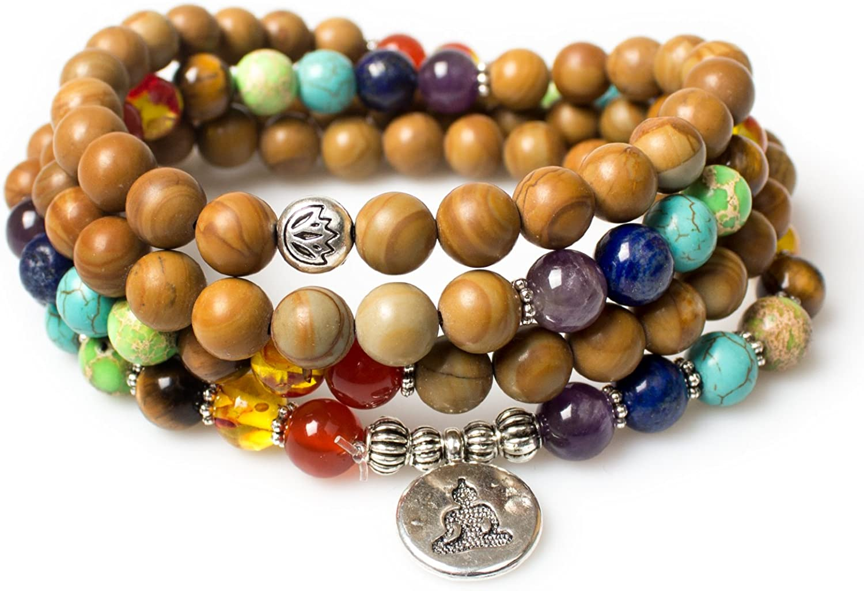 PWMENLK Joyería, Piedra de sanación de Jaspe de Madera 8 mm 108 oración Budista Mala Beads Buda 7 Chakra Collar Pulsera