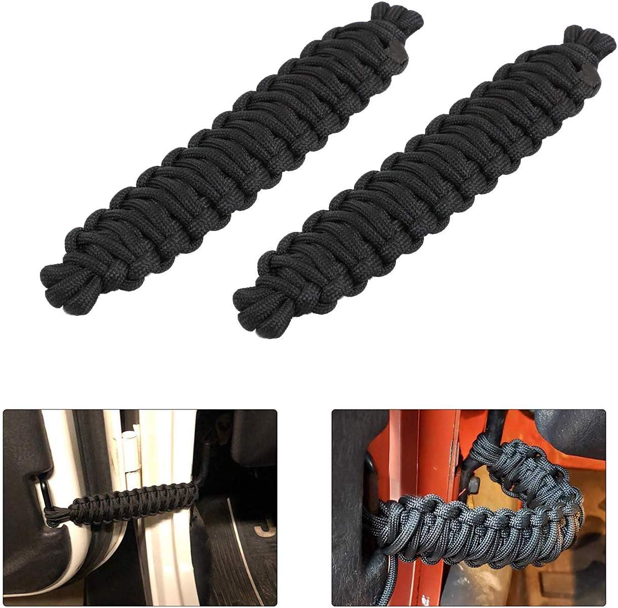 2pcs Door Limiting Straps for Jeep Wrangler Door Straps CJ YJ TJ JK JKU JL Door Limiter Paracord Hand Woven Black /& Red