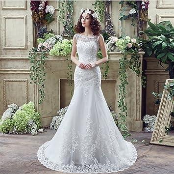LUCKY-U Vestido De Novia, Pincess Vestido De Novia Transparente De Encaje Elegante Vestido