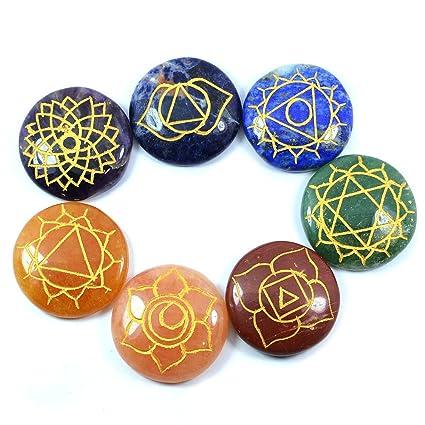 Buy Reiki Crystal Products 7 Chakra Symbol Engraved Set Gemstone For
