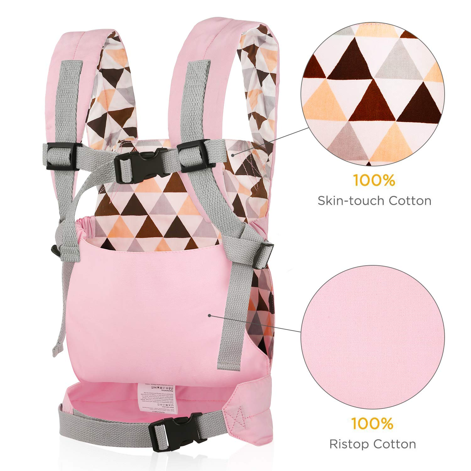 Pink Rabbit Pink GAGAKU Dolls Carrier Front and Back Soft Cotton for Baby over 18 Months