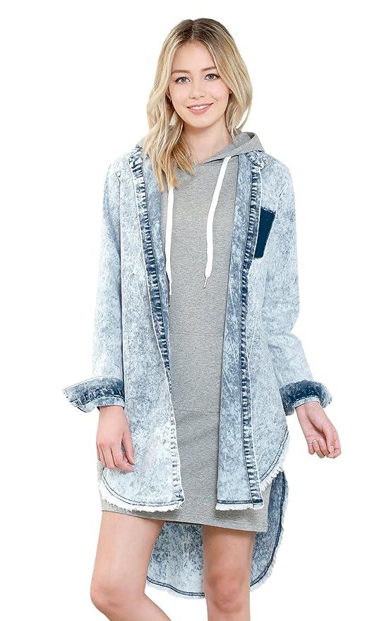 29bfec03aa7 ililily Women Vintage Ice Wash Denim Shirt Distressed Frayed Hemline Long  Dress at Amazon Women s Clothing store