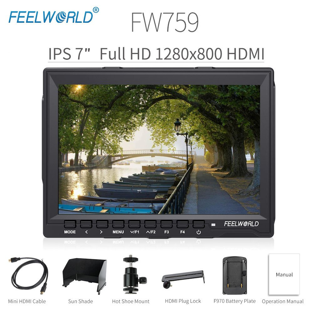 Feelworld FW759 Camera Monitor 7'' HD 1280x800 Field Video LCD IPS Screen 800:1 High Contrast Ratio for Steady Cam, DSLR Rig, Camcorder Kit, Handheld Stabilizer by FEELWORLD
