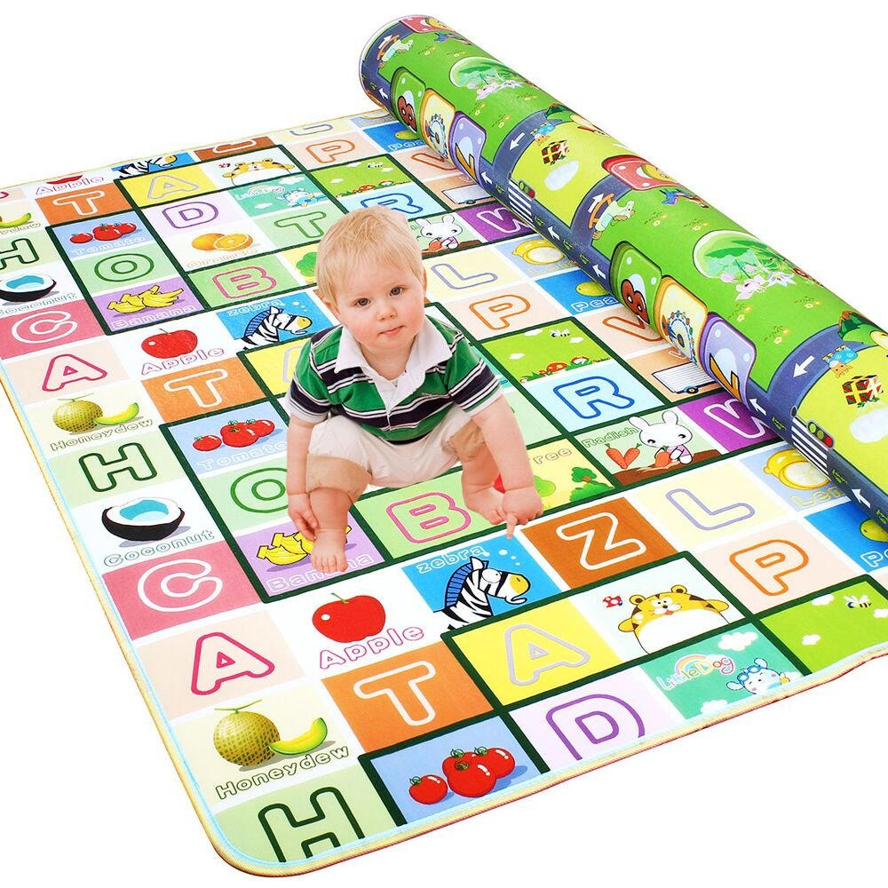 Fani Play Mat Kids Baby Play Crawl Mat Non-Toxic Non-Slip Waterproof Reversible Thick& Large Double Sides Portable Mat Use for Outdoor/Picnic/Beach/Travel (Animal, 79Inch by 71Inch) Henan Pasi E-commerce Co. Ltd