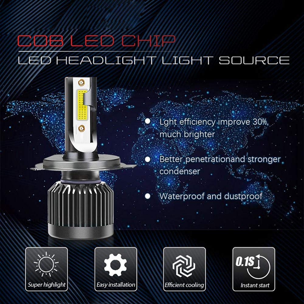 OOOUSE H1 LED Headlight Bulbs COB LED Chips Car Headlight Bulbs Conversion Kit 20000LM Head Lamps Car Replacement Lights Of Halogen And Xenon Kit 6000K White 9V-32V