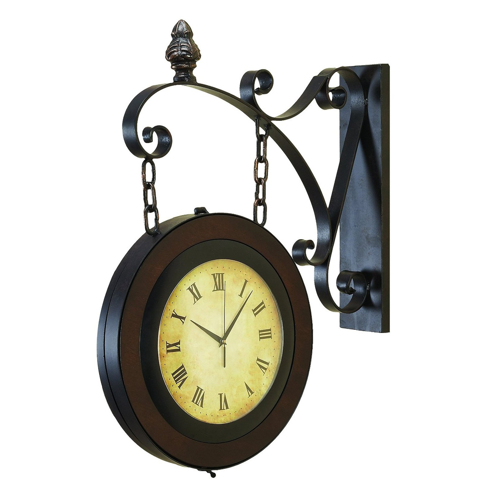 EcWorld Enterprises 7780433 Large Handcrafted Metal Hanging Double Face Clock by ecWorld