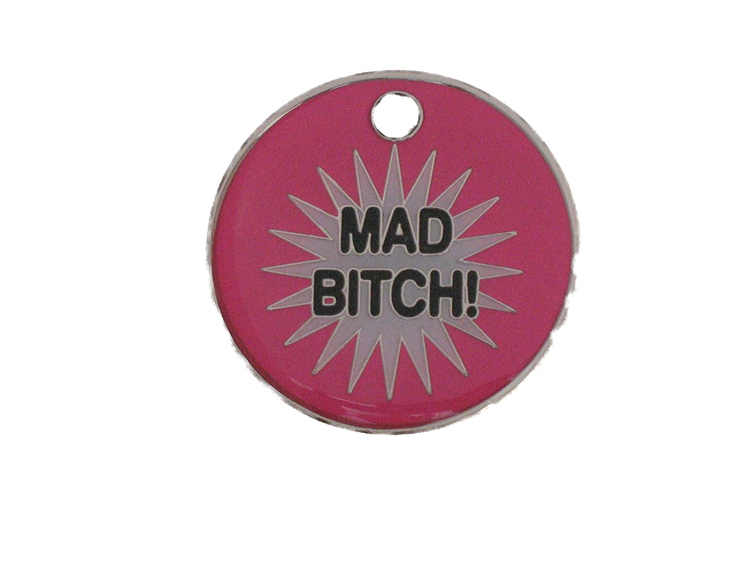 27mm Novelty tags, MAD BITCH: Amazon co uk: Pet Supplies
