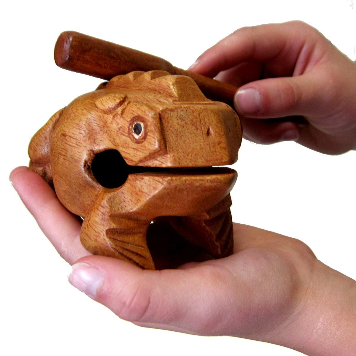 Deluxe Medium 4 Wood Frog Guiro Rasp Musical Instrument Tone Block.