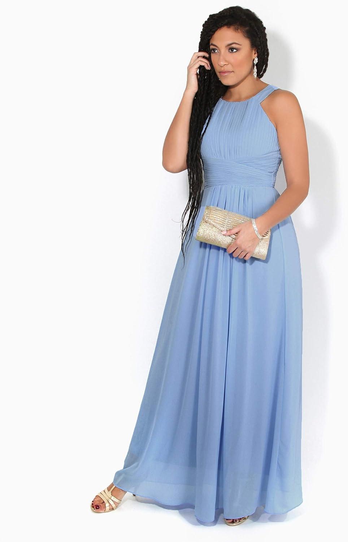 KRISP - Abito da sera da donna, lungo, elegante, elegante, taglia grande Bleu Clair (3500)