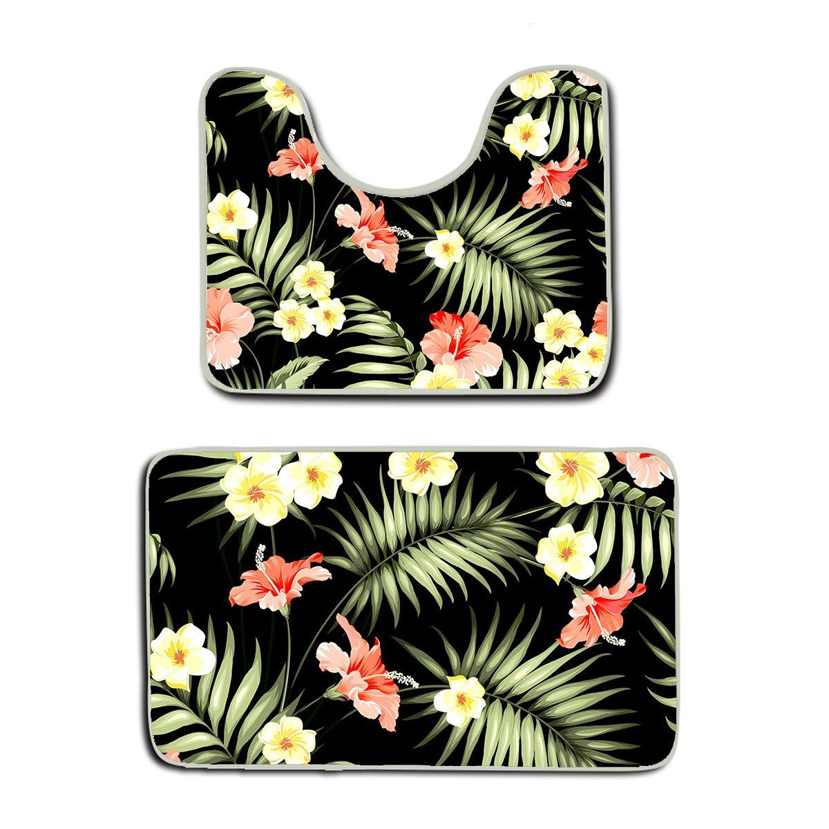 SWEET TANG Memory Foam 2 piece bathroom rug set - Hawaii Hawaiian Tropical Flowers and Jungle Palms - Skidproof bath Mat And Toilet Seat Contour Cover rug