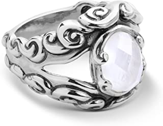 product image for Carolyn Pollack Sterling Silver Mother of Pearl Gemstone Split Band Ring Size 05 to 10