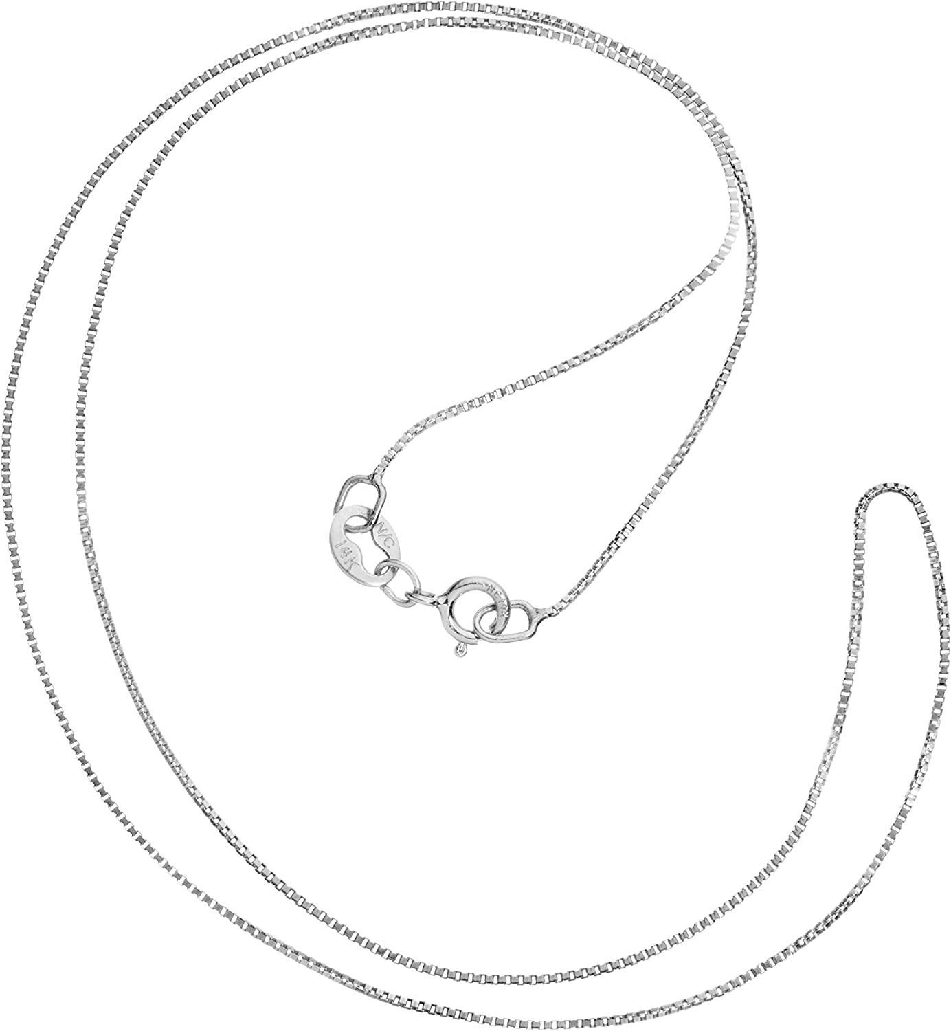 14K Solid White Gold Box Link Chain Necklace | 14 Inch to 22 Inch Lengths Available | .60mm or 1.0mm Thick