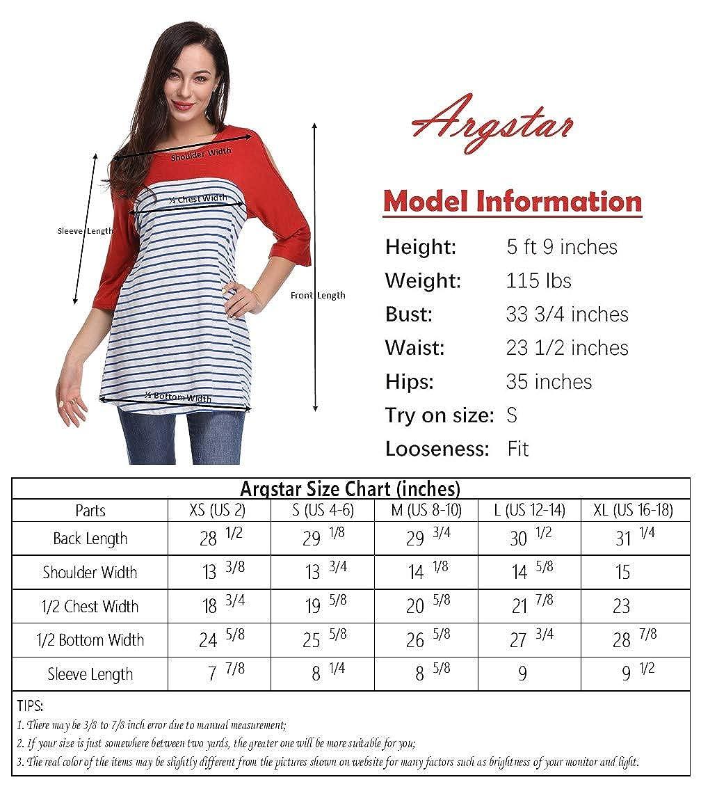 Argstar Women's Stripe Scoop Neck Shoulder Hole 3/4 Sleeve Color