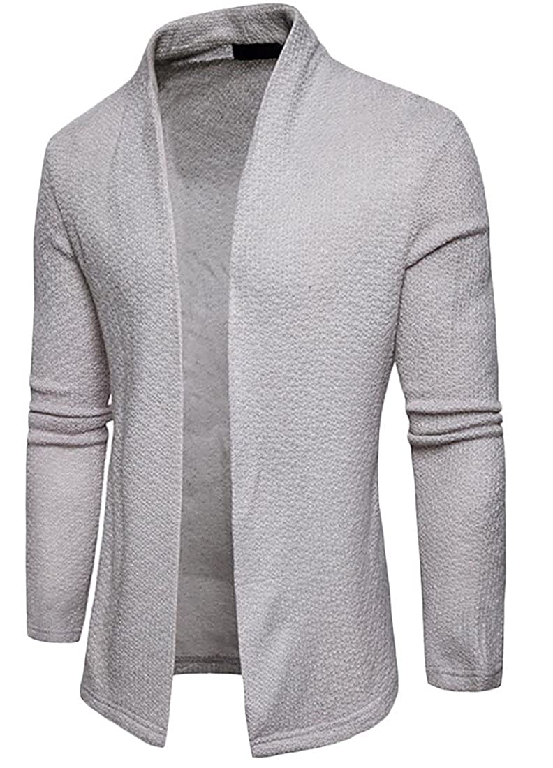 S-Fly Mens Fashion Solid Color No Buttons Lightweight Cardigan Jackets Capes