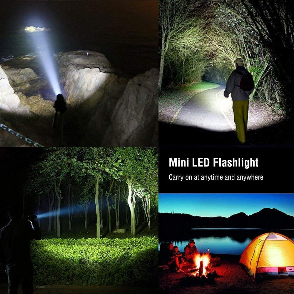 Super Bright LED Flashlight Super Bright 800 Lumens Pocket Torch Zoomable and Waterproof Camping Outdoor Torch 3 x AAA Batteries Included Zukvye LED Torch
