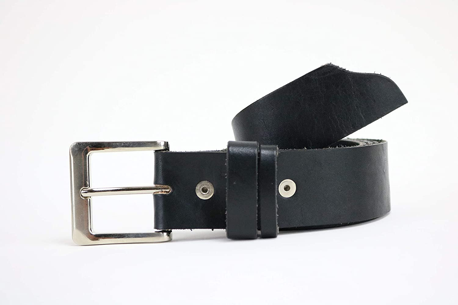 Mens black leather belt with smooth silver tone buckle