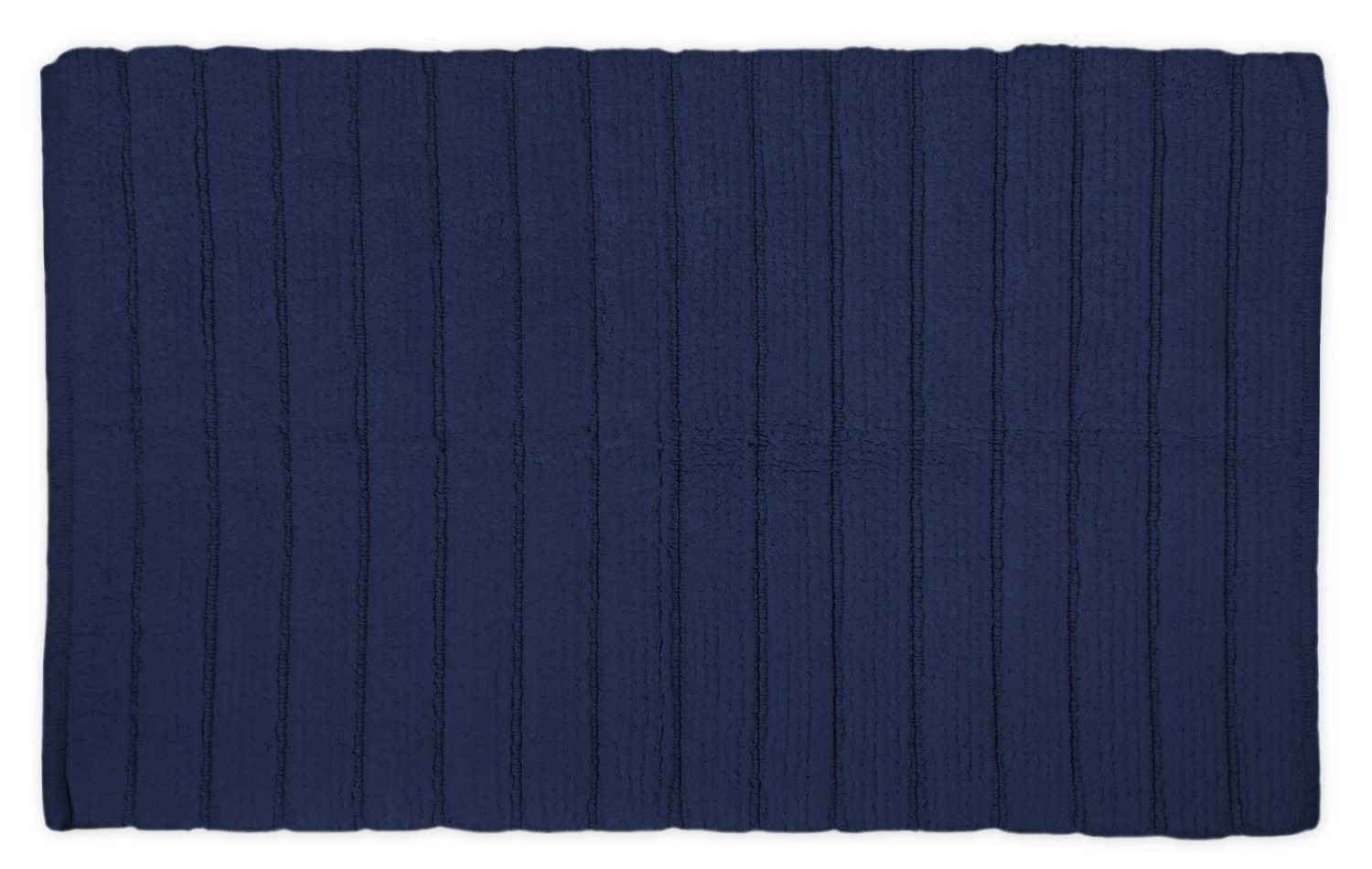 DII Cotton Ultra Absorbent Soft Luxury Spa Ribbed Bath Mat or Rug Place in Front of Shower, Vanity, Bath Tub, Sink, and Toilet 21x34 Navy