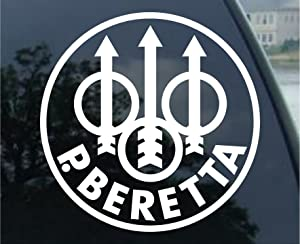 "spdecals Beretta Firearms Car Window Vinyl Decal Sticker 4"" Wide (Color: White)"