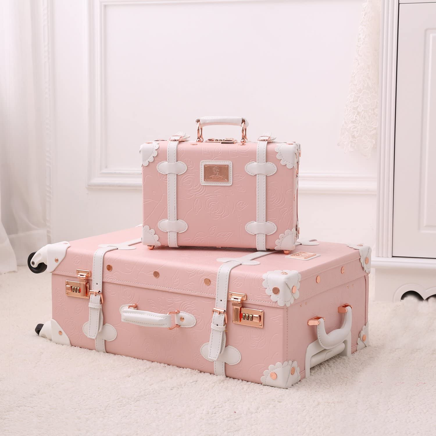 Unitravel Travel Luggage Spinner Wheels Vintage Cute Suitcase for Women Carry On