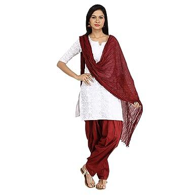 998cb5395b Funfabrics Cotton Full Free Size Maroon Plain Patiala Salwar Dupatta Set Cotton  Patiala Dupatta: Amazon.in: Clothing & Accessories