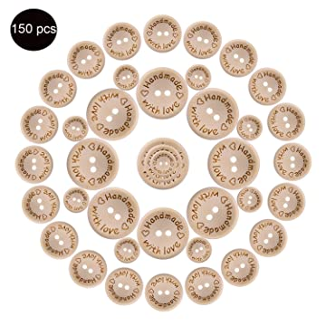 0b30a0c9f442a 150pcs Wooden Handmade with Love Round Craft Decor 2 Holes Wooden Sewing  Buttons (15-20-25mm)