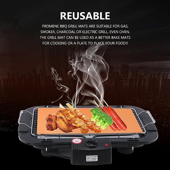 Promene - cobre Grill Mat 4 Pcs - 100% antiadherente para barbacoa parrilla alfombrillas - Alfombrillas Golden Grill y Bake Mats (4 piezas): Amazon.es: ...
