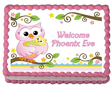 Amazon Baby Shower Owl Edible Frosting Sheet Cake Topper