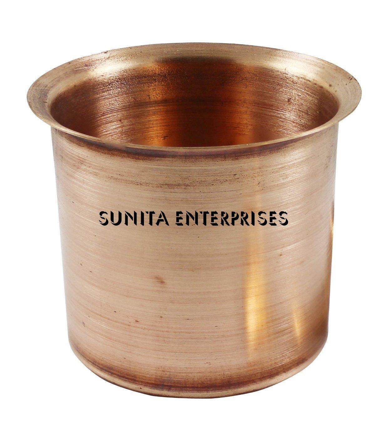 SUNITA ENTERPRISES Present INDIAN Ayurvedic Pure Copper Tulsi Water Drinking Glass - Tumbler, Puja - Pooja Copper Mug-Cup-Loti, Serveware,Tableware & Drinkware 150+ ML Capacity (5 US Fluid Ounce)
