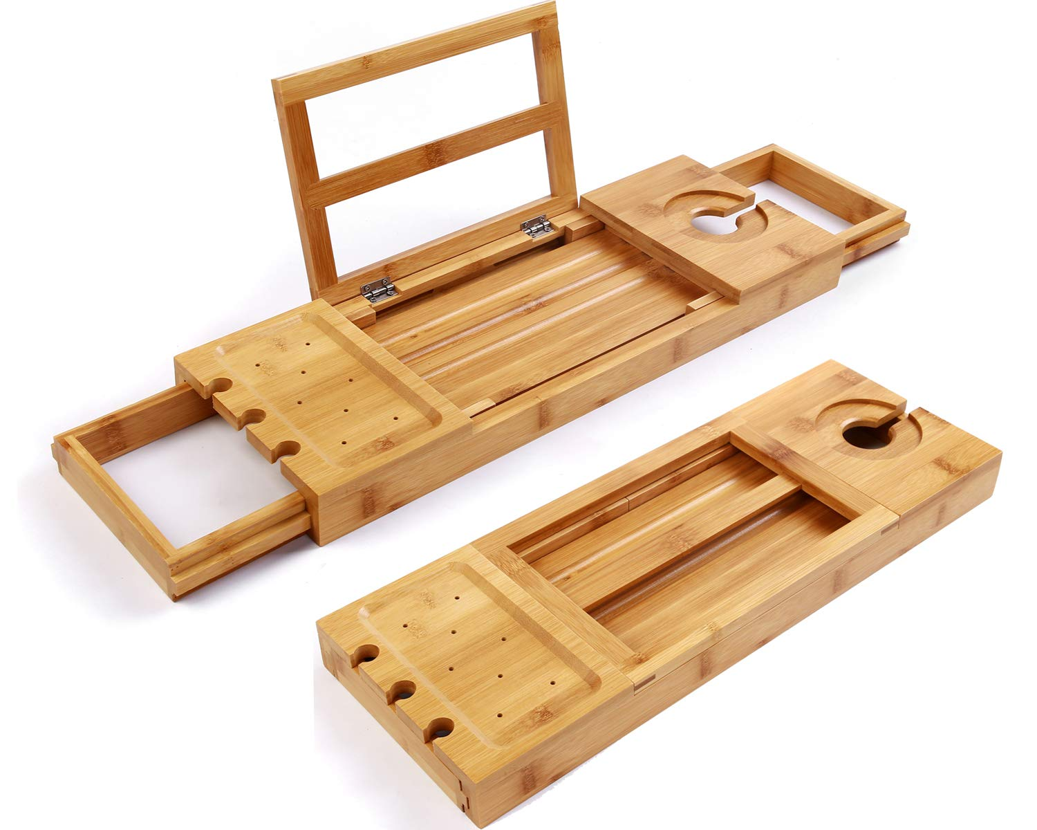 Utoplike Unique Bamboo Bathtub Tray Wooden Bath Caddy Tray Extending Arms,Spa Relaxing Bath Organizer Tray Holds Books/Tablets/ Cell Phone/Towels/Foods SafeHouseware
