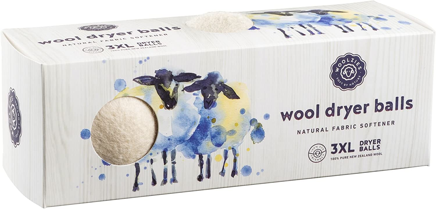 Woolzies Wool Dryer Balls Organic: Our Big Wool Spheres are the Best Fabric Softener | 3-Pack XL Dryer Balls for Laundry is Made with New Zealand Wool | Use Laundry Balls for Dryer with Essential Oils
